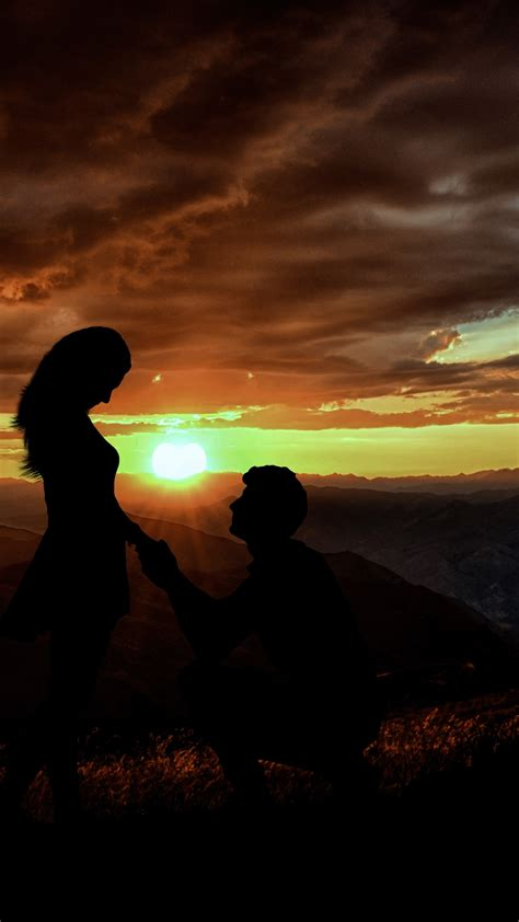 wallpaper couple silhouette lovers proposal sunset