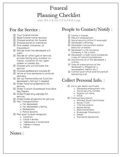 funeral planning template how to plan a funeral funeral planning checklist free the blue sky papers