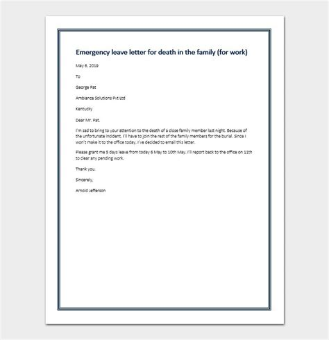 excuse letter due   death   family sample