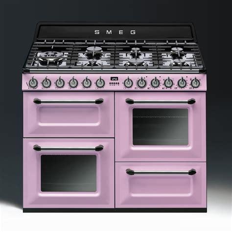 smeg aesthetic dual fuel 110cm range cooker tr4110ro pink with chrome trim
