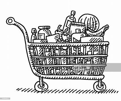 Shopping Cart Vector Grocery Drawing Illustration Groceries