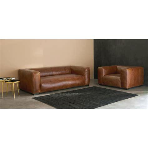 divano cuoio divano in cuoio marrone 3 4 posti maisons du monde