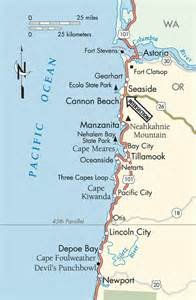 Map of Oregon Coast Cities and Towns