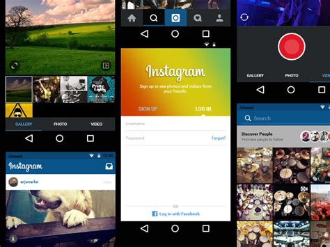 instagram android instagram for android ui sketch freebie free