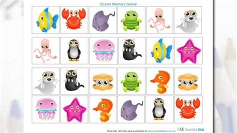 printable activity worksheets  preschool ocean memory