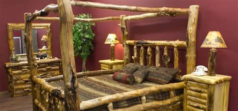 rustic log canopy beds   poster log beds