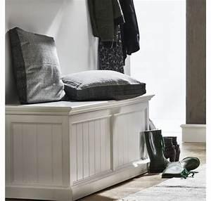 Banc Coffre Bois : coffre banc de rangement collection leirjford bois blanc chaise tabouret pouf ~ Teatrodelosmanantiales.com Idées de Décoration