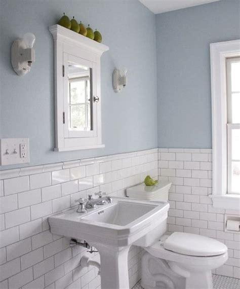 wall colour light blue bathroom white subway tile shower