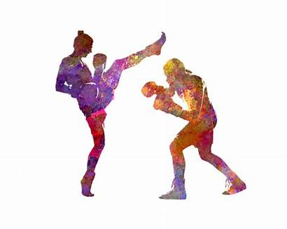 Boxing Silhouette Kickboxing Woman Painting Isolated Romero