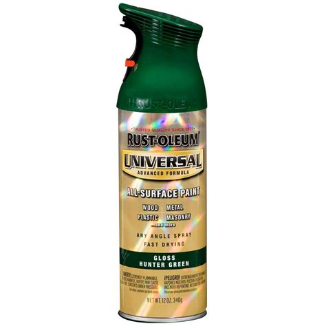 rust oleum universal 12 oz all surface gloss green spray paint and primer in one