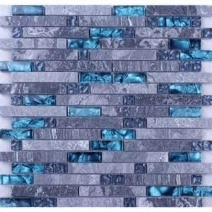 grey and yellow bathroom ideas grey marble blue glass mosaic tiles backsplash