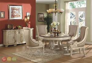 Halyn antique white round formal dining room set for Formal round dining room sets