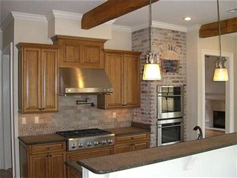 double oven built   brick wall surround