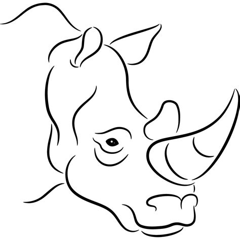 head rhinoceros outline wild animals wall art stickers