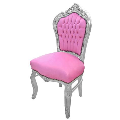 Chair Baroque Rococo style pink velvet and silvered wood