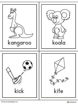 letter  words  pictures printable cards kangaroo koala kick kite myteachingstationcom