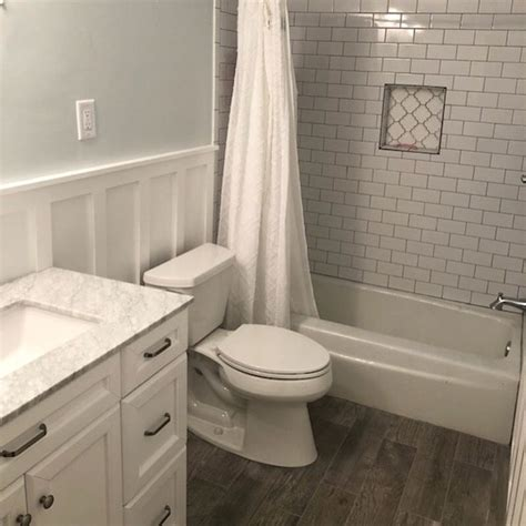 Grey Wood Tile Bathroom by Grey Wood Look Tile Subway Tile Bathroom Renovation