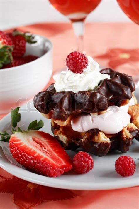 waffle dessert with yogurt and fruits stock photo colourbox