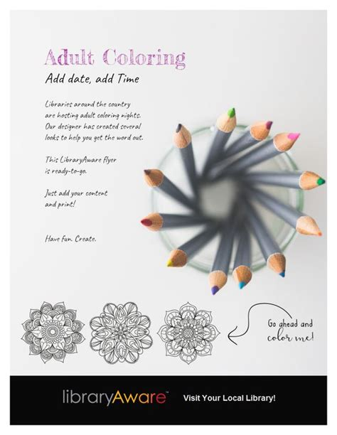 flyer template adult coloring and flyers on pinterest