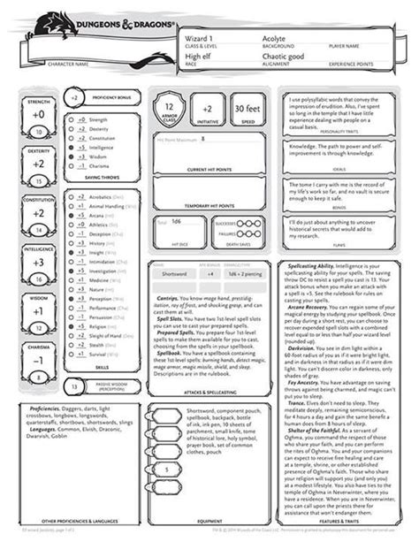 Dungeons And Dragons Templates by Dungeons And Dragons Character Sheet Templates