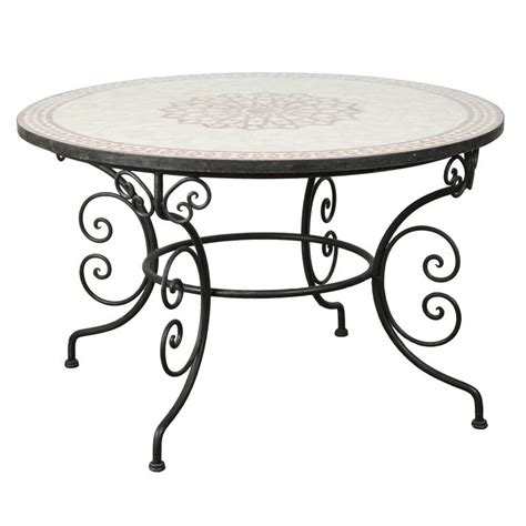 mosaic outdoor dining table moroccan outdoor round mosaic tile dining table on iron