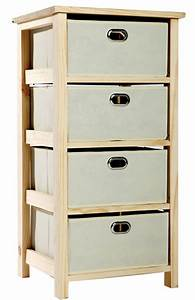 Natural, Wood, 4, Tier, Storage, Unit, With, Fabric, Drawers