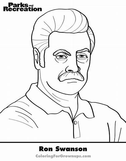 Coloring Pages Funny Grown Printable Ron Swanson