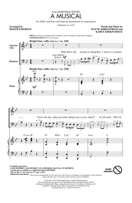 Set in 1595, the story follows the bottom brothers, nick and nigel. A Musical (from Something Rotten) By Wayne Kirkpatrick Wayne Kirkpatrick - Digital Sheet Music ...
