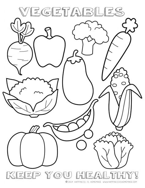 healthy vegetables coloring page sheet printable