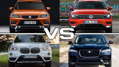seat ateca vs tiguan seat ateca vs vw tiguan vs bmw x1 vs jaguar f pace youtube