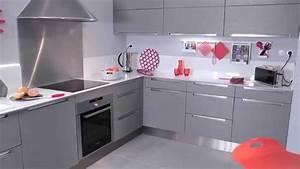 les meubles de cuisine stria gris youtube With salle de bain gris perle