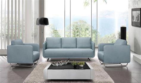canapé avec fauteuil ensemble design canap 3 places 2 fauteuils en tissu bleu