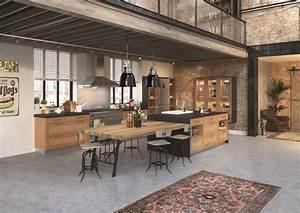 Cuisine Style Industriel Bois : cuisine lot central 12 photos de cuisinistes c t maison ~ Teatrodelosmanantiales.com Idées de Décoration