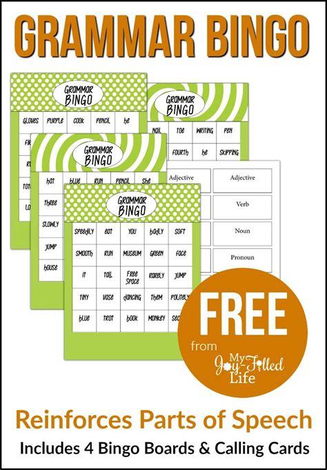 Grammar Bingo  Free Printable  Bingo Games, Homeschool And Language Arts