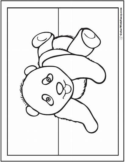Panda Coloring Pages Pandas Bamboo Kawaii Drawing