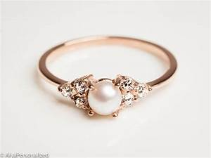 14k rose gold engagement ring pearl engagement ring With pearl and diamond wedding rings