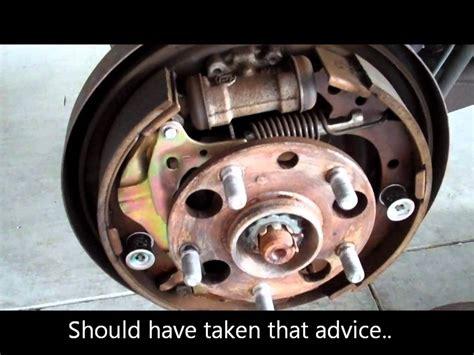 toyota rav  rear brake shoe replacement fail youtube