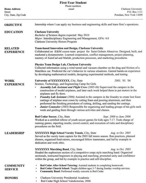 resume exles for college students computer science resume templates for students in printable templates free