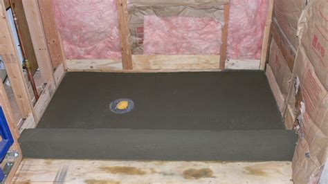 shower pan mud layer sloped 1 4 quot per foot to drain