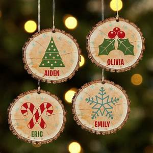 Personalized, Rustic, Charm, Wooden, Christmas, Ornament, -, Available, In, 4, Designs