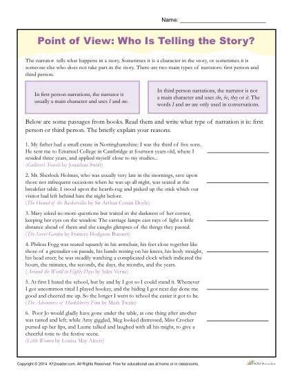 Point Of View Worksheets  Reading Comprehension Activities  Pinterest  Reading Worksheets