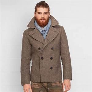denim supply ralph lauren herringbone pea coat in brown With brown pea coat mens
