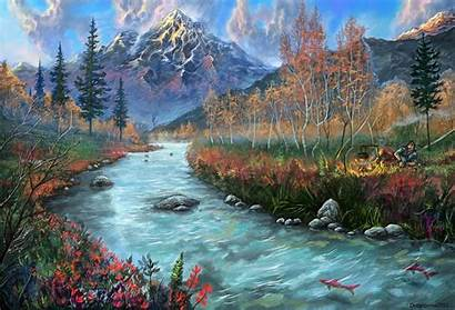 River Mountains Landscape Forests Mountain Painting Fantasy