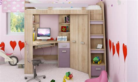lit bureau combiné lit en hauteur combin avec bureau armoire et rangement intgr