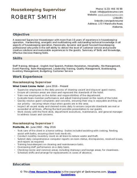 Housekeeping Resume Template by Housekeeping Supervisor Resume Sles Qwikresume