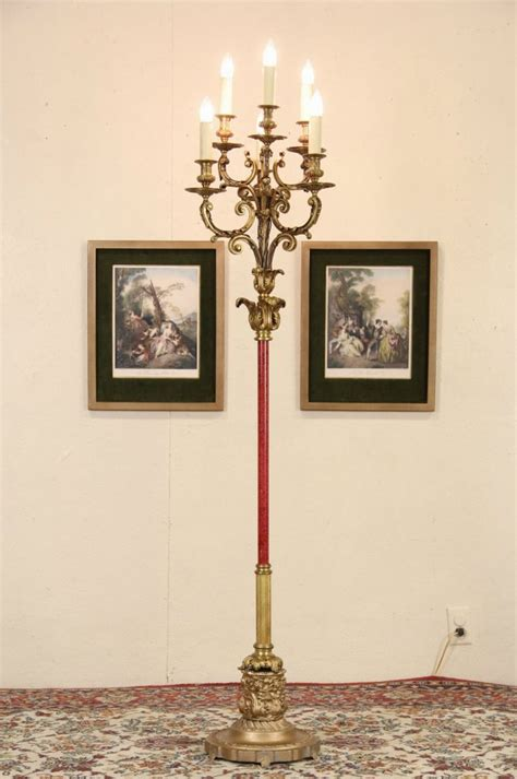 sold bronze  candle antique candelabra floor lamp