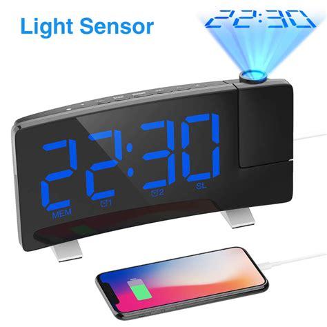 projection alarm clock  curved digital display