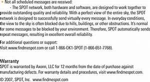 Spot Pt1 Satellite Personal Tracker User Manual 1