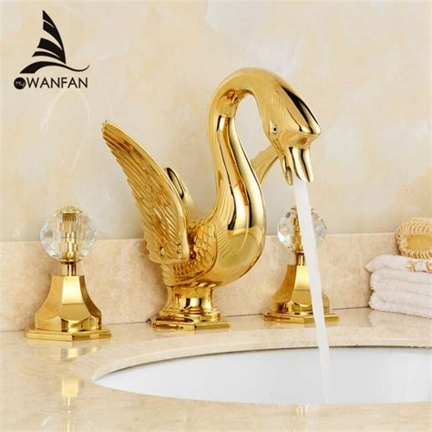 basin faucets luxury faucet gold  hole bathroom sink taps