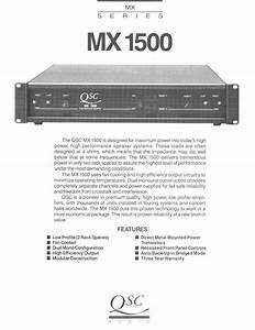 Qsc Audio Stereo Amplifier Mx 1500 User Guide
